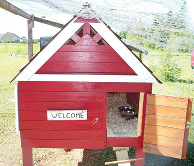 Completed chicken coop with red exterior and welcome sign.