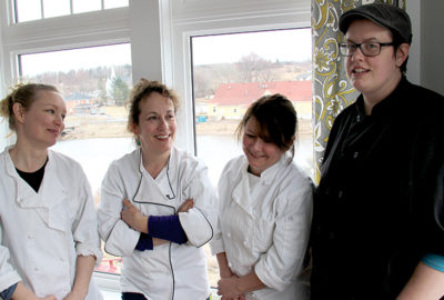 Chef Emily Wells and her kitchen team