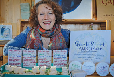 Julain Molnar poses with an assortment of her fauxmage samples at the Charlottetown Farmers Market