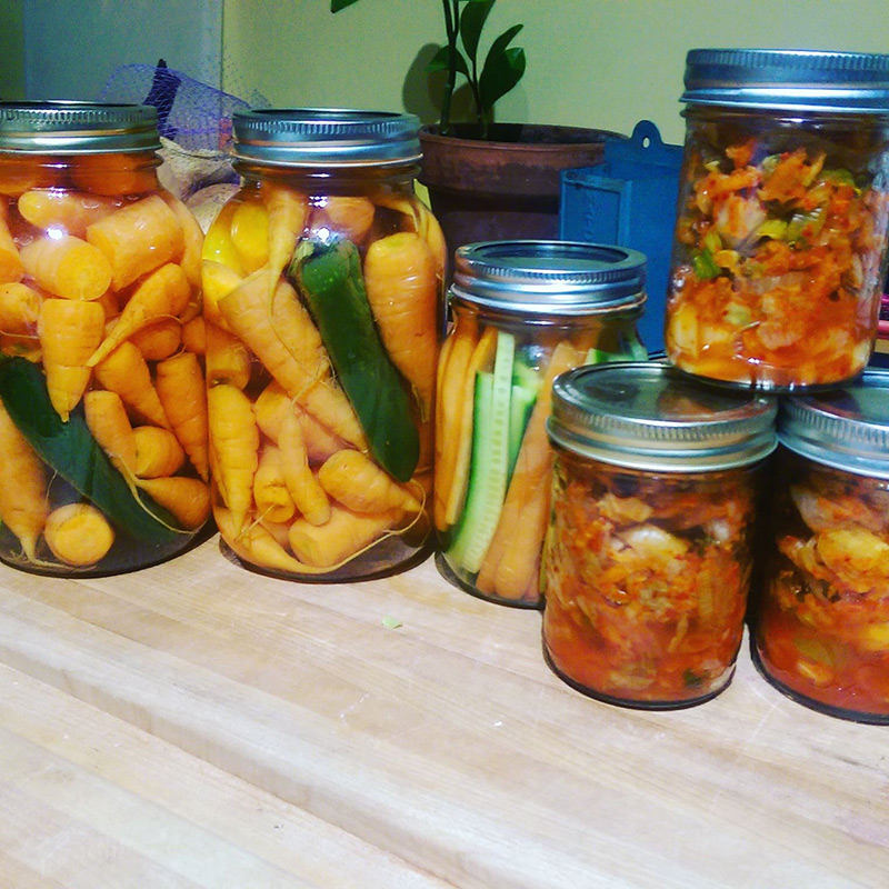 Bottles of fermented vegetables.