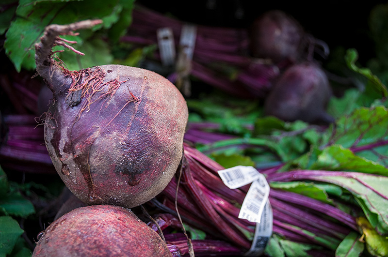 Up-close of purple beets